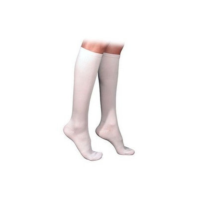 Sigvaris 230 Cotton Series 30-40 mmHg Men's Closed Toe Knee High Sock Size: Large Short, Color: White 00