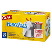 Glad ForceFlex Tall Kitchen Drawstring Trash Bags 13 gal 50 ct