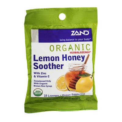 Zand Organic Herbalozenge Lemon Honey Soother with Zinc & Vitamin C - 18 CT