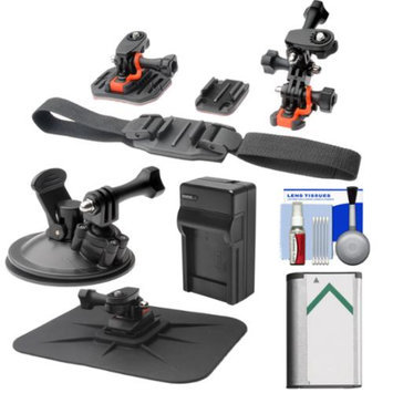 Vivitar Essentials Bundle for Sony Action Cam HDR-AS30V, AS15 & AS100V Camcorders with Helmet, Flat Surface & Car Mounts + Battery + Charger + Accessory Kit