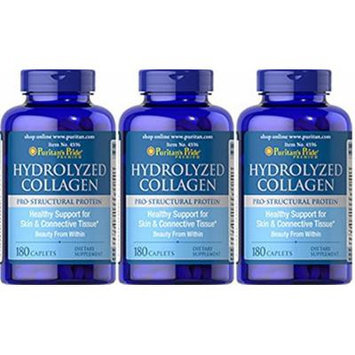 Hydrolyzed Collagen 1000 mg - 180 Caplets 3 Bottles Total of 540 Caplets