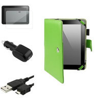 Insten INSTEN Green PU Folio Leather Case+Clear Shield+USB+Car Charger For Kindle Fire HD 8.9