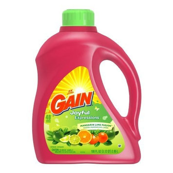 Gain 2X Ultra Gain Liquid Joyful Expressions Mandarin Lime Fusion 48 Load, 100.0-Ounce Bottles (Pack of 4)