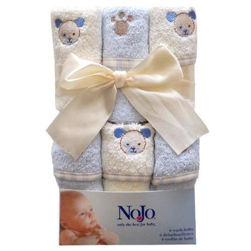 Nojo Character Bath Collection 6 Pack Embroidered Woven Terry Washcloth Set, Puppy