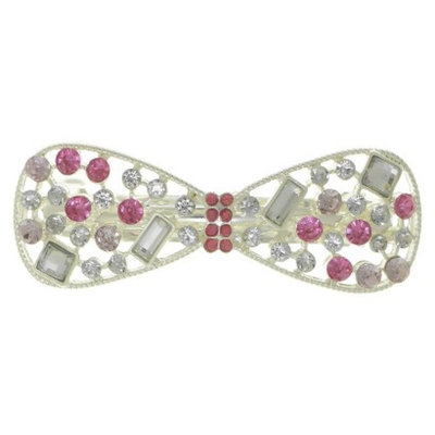 RIVIERA, A STYLEMARK CO Women's Riviera Bow Barrette with Stones - Pink