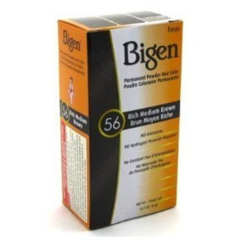 Bigen #56 Rich Medium Brown Permanent Powder Hair Color 6 gram Bottle