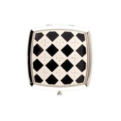 Welforth Black Silver Checkered w/Rhinestones Square Compact Mirror - S4758