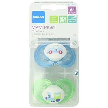 MAM 2 Pack Pearl Silicone Pacifier, 6 Months, Colors May Vary