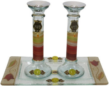 Artsy Casa 5th Ave Candle Stick w/ Tray Large Applique -Colorful - Tray 10 W X 5 L - Candlesticks - 7.5 H