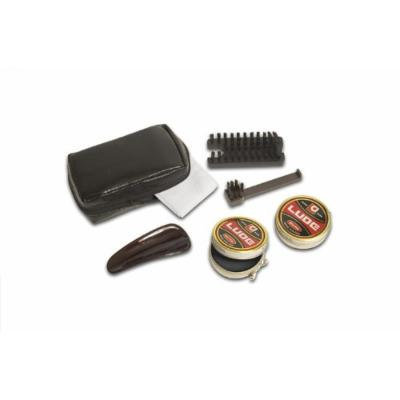Deluxe Shoe Shine Kit: Polish, Brush, Horn, Brush (2), Cloth + Travel Case