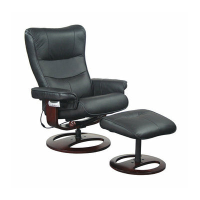 New Spec Inc Topcliner 60V Leather Ergonomic Recliner and Ottoman