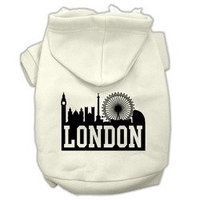Mirage Pet Products London Skyline Screen Print Pet Hoodies Cream Size XXL (18)