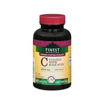 Finest Natural Vitamin C 1000mg with Rose Hips Timed Release Caplets 100 ea