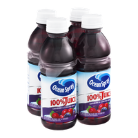 Ocean Spray 100% Juice Cranberry & Concord Grape - 4 CT