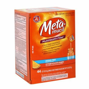 Metamucil Orange Sugar Free Smooth Texture Powder Packets, 44 Count (Pack of 2)