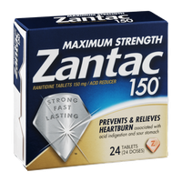 Zantac 150 Maximum Strength Ranitidine Tablets 150mg Acid Reducer - 24 CT