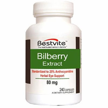 Bilberry Extract 80mg (240 Capsules)