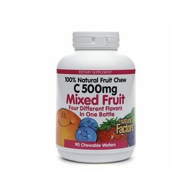 Natural Factors 100% Natural Fruit Chew C 500mg, Mixed Fruit 90 chewable