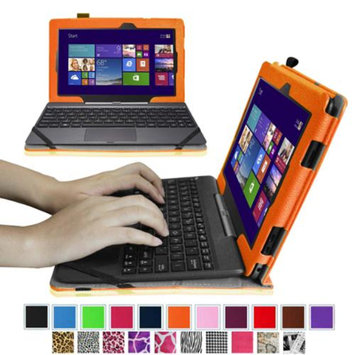 Fintie Folio Leather Case Cover For ASUS Transformer Book T100 Window 8.1 Tablet, Orange