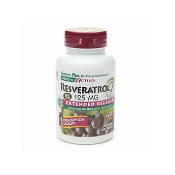 Nature's Plus Resveratrol 125mg Extended Release 120 vegetarian tablets