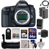 Canon EOS 5D Mark III Digital SLR Camera Body with 64GB Card + 2 Batteries & Charger + Grip + HDMI Cable + Accessory Kit