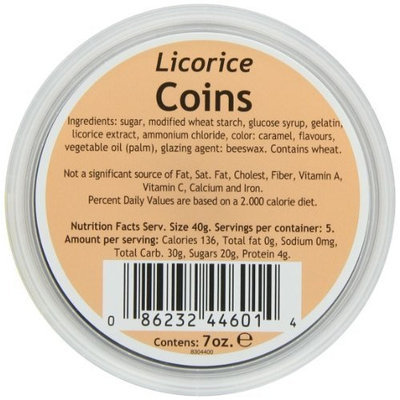 Gustaf's Dutch Licorice Coins, 6 Plastic containers - 7-Ounce each