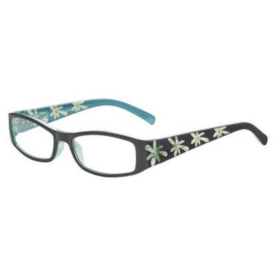 ICU Eyewear ICU Blue Etched Floral Rhinestones Reading Glasses with Case - +2.5