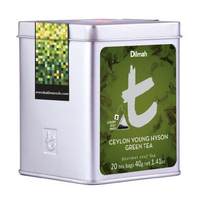 Dilmah, Luxury t-series Tea, 100% Pure Ceylon Single Origin, Ceylon Young Hyson Green Tea, 20 Luxury Tea Bags in Designer Caddy, 1.41oz Each, (Pack of 2)