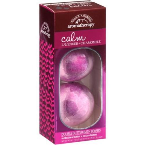 Village Naturals Aromatherapy Calm Lavender + Chamomile Double Butter Bath Bombs, 2 count, 4.9 oz