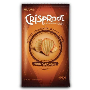 Arico CrispRoot Cassava Chips, Thai Ginger, 5-Ounce Bags (Pack of 12)
