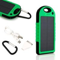 5000mAh Portable Shockproof Waterproof Solar Charger Battery Panal Double USB Power Bank for Cell Phone MP3 - Green