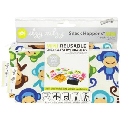 Itzy Ritzy Snack HappensSnack Mini Reusable Snack Bag, Funky Monkey Remix, 2-Count (Discontinued by Manufacturer)