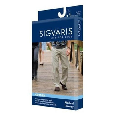 Sigvaris 230 Cotton Series 30-40 mmHg Men's Closed Toe Knee High Sock - Size: M4, Color: Navy 10