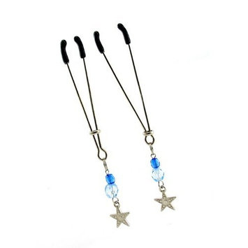Fresh Tweezer Nipple Clamps with Beads and Star Charms, Blue