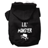 Mirage Pet Products Lil Monster Screen Print Pet Hoodies Black Size Med (12)