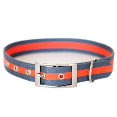 Kiss My Mutt Sailboat Striped Dog Collar Size: X-Large ( 24