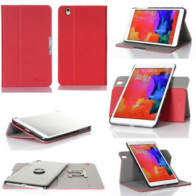 GearIt Samsung Galaxy Tab Pro 8.4 Case - 360 SPINNER landscape, portrait, typing stand folio cover - Twill Red