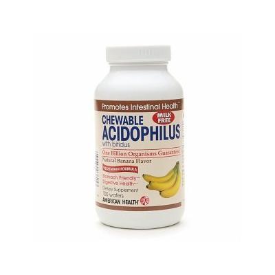 American Health Chewable Acidophilus with Bifidus, Banana 100 wafers