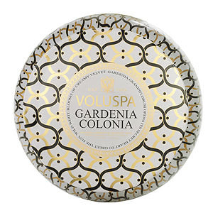 Voluspa Gardenia Colonia 2 Wick Metallo Candle in Printed TIN