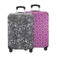 Travelon Set of 2 Suitcase Cover- Medium(1 Black Print Plus 1 Berry Floral) Suitcase Cover Medium
