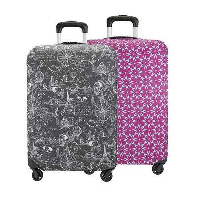 Travelon Set of 2 Suitcase Cover- Large(1 Black Print Plus 1 Berry Floral) Suitcase Cover Large