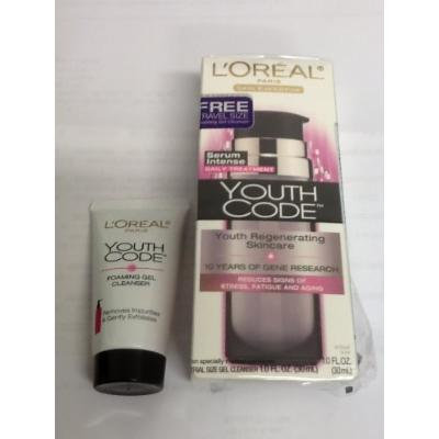 L'Oréal Paris Youth Code Regenerating Skincare Serum Intense Daily Treatment + Free Travel Size Foaming Gel Cleanser