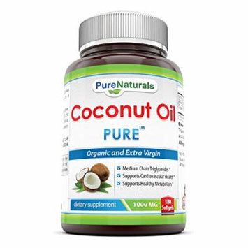 Extra Virgin and Organic Coconut Oil Softgel, 1000 mg, 180 Count