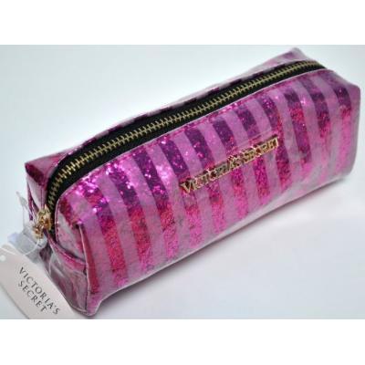 Victoria's Secret Pink Stripes Plastic Glitter Cosmetic Bag