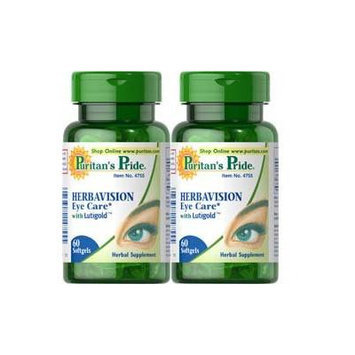Puritan's Pride Herbavision with Lutein and Bilberry 60 Softgels 2 Bottles