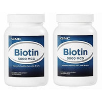 GNC Biotin 5000 120 Capsules - Single or Double Pack (Two Bottles Each of 120 Caplets)