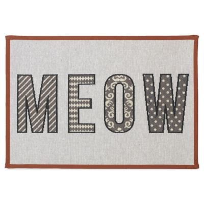 PetRageous Designs 13 x 19 MEOW Non-Skid Tapestry Cat Placemat, Natural