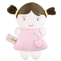 Dandelion Pink Organic Baby Rattle Doll Toy - Brunette