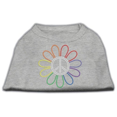 Mirage Pet Products 5269 XXXLGY Rhinestone Rainbow Flower Peace Sign Shirts Grey XXXL 20