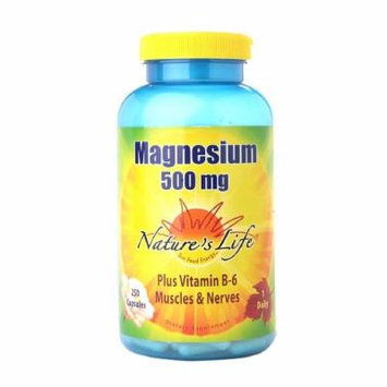Nature's Life Magnesium 500mg Plus Vitamin B-6, Capsules 250 ea